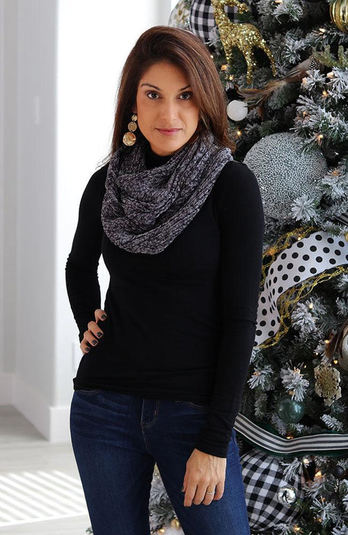 Grey Infinity Neck Scarf