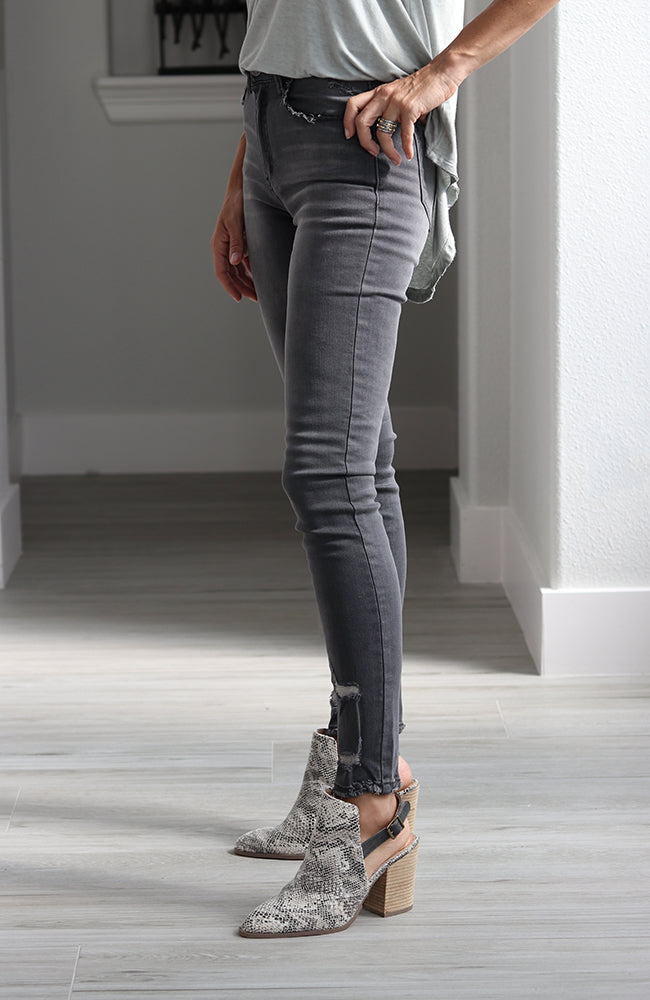 Liam Grey High Rise Skinny Jeans