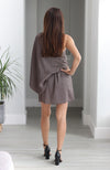 Mushroom Colored One Shoulder Dress