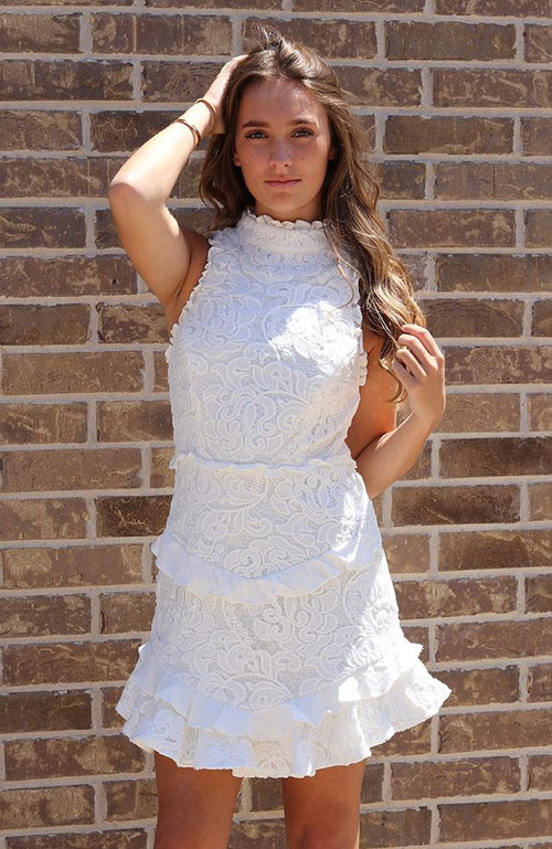 White Romantic High Neck Dress - THE WEARHOUSE
