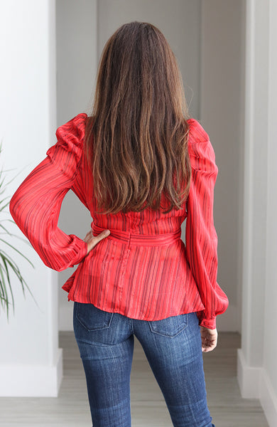 Red Lurex Woven Surplice Top