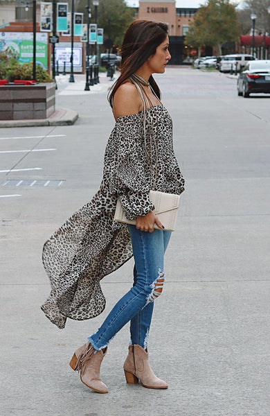 Grey Leopard Tube Top Hi-Lo