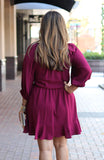 Wine Colored Textured 3/4 Sleeve Dress