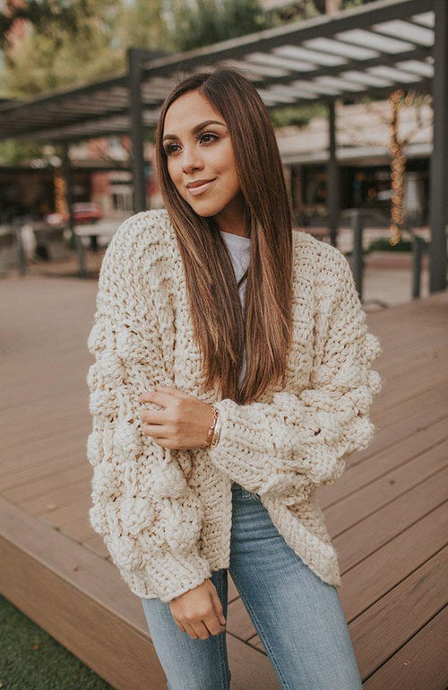 Ivory Bobble Heart Cable Knit Cardigan