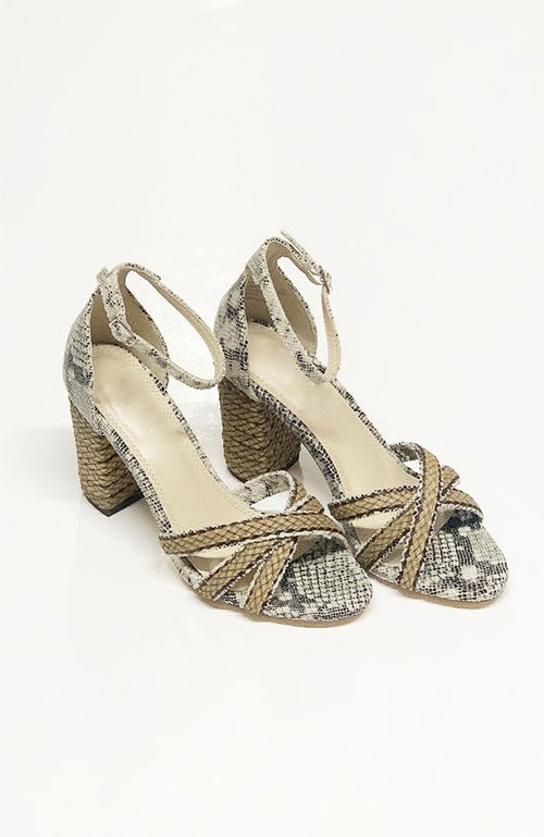 """Veronica"" Black and Taupe Reptile Heels - THE WEARHOUSE"