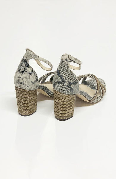 """Veronica"" Black and Taupe Reptile Heels"