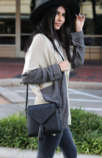 Taupe and Grey Color Block Knit Sweater