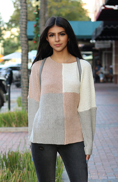 Mauve and Grey Color Block Knit Sweater