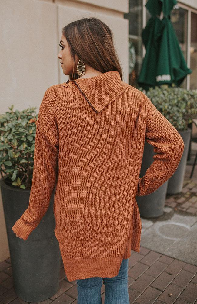 Caramel Dropped Shoulder Sweater with Zipper