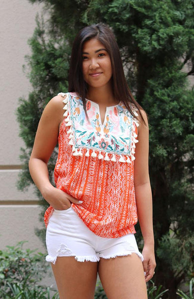 Printed Embroidered Tank