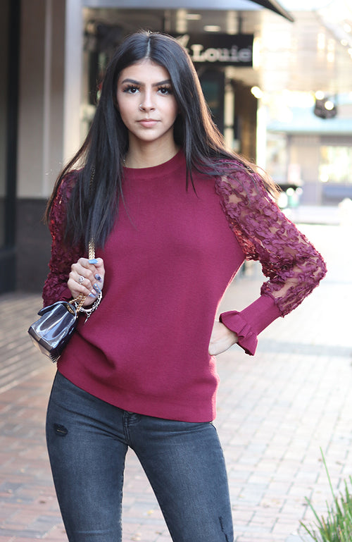 Burgundy Crewneck Detailed Sleeve Sweater