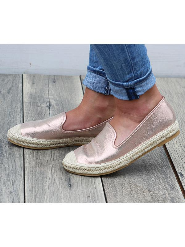 Metallic Pink Flats - THE WEARHOUSE