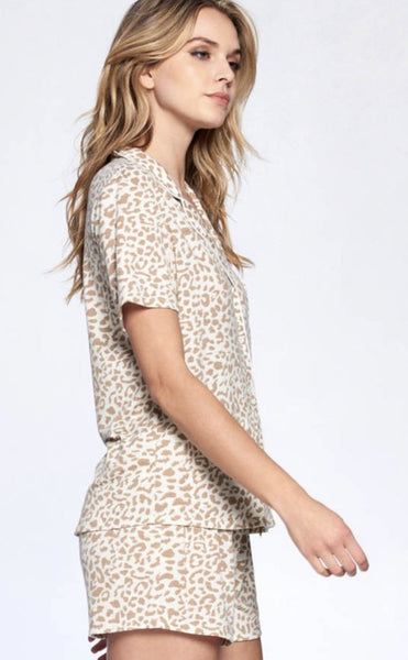 Ivory and Tan Leopard PJ Set - THE WEARHOUSE