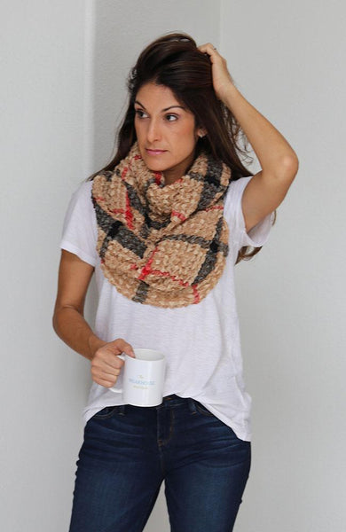 Red, Black and Camel Checkered Infinity Scarf