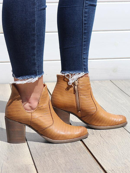 Blurred Lines Tan Booties - THE WEARHOUSE
