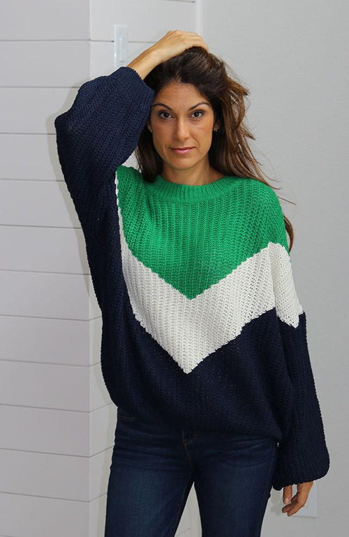 Green, White and Blue Striped Sweater
