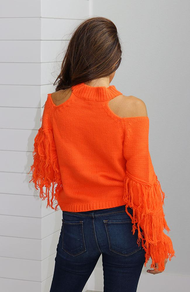 Orange Open Shoulder Fringe Sweater