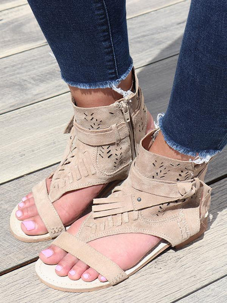 Tan Ankle Wrap Sandals - THE WEARHOUSE