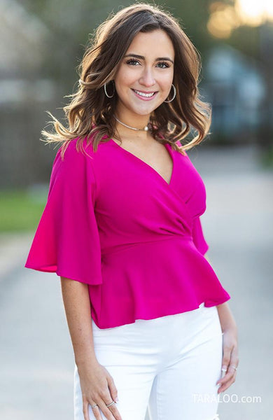Fuchsia Peplum V Neck Top - THE WEARHOUSE