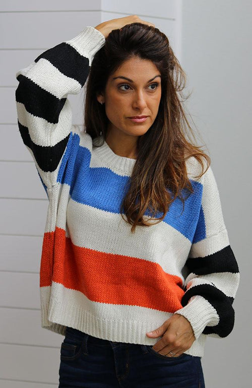 Blue and Orange Striped Long Sleeve Sweater