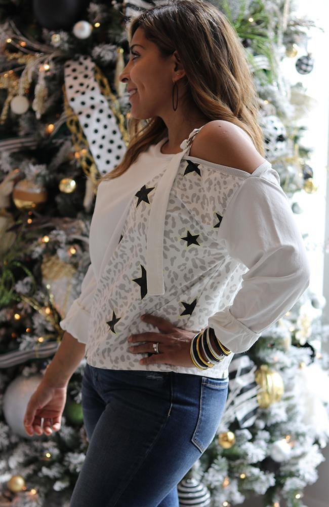Asymmetrical Leopard Star Print Top