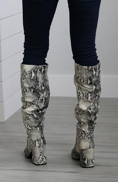 Olivia Snakeskin Tall Boots - THE WEARHOUSE