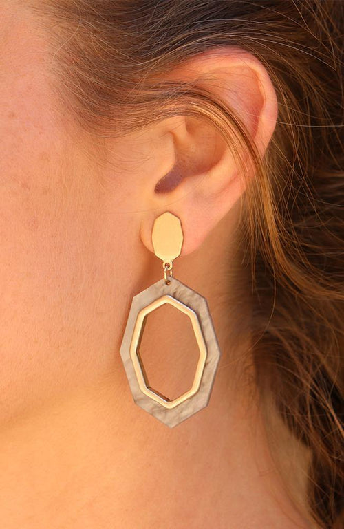 Matted Gold and Grey Drop Earrings