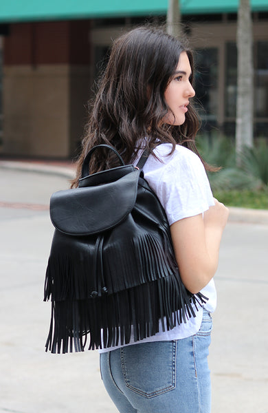 Black Tasseled Faux Leather Convertible Backpack