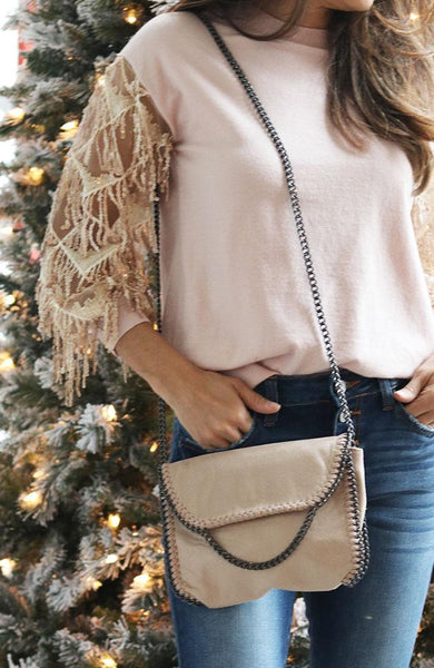 Taupe and Steel Chain Crossbody Bag