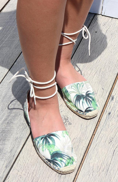 Green Leaf Tie-up Flat Sandal - THE WEARHOUSE