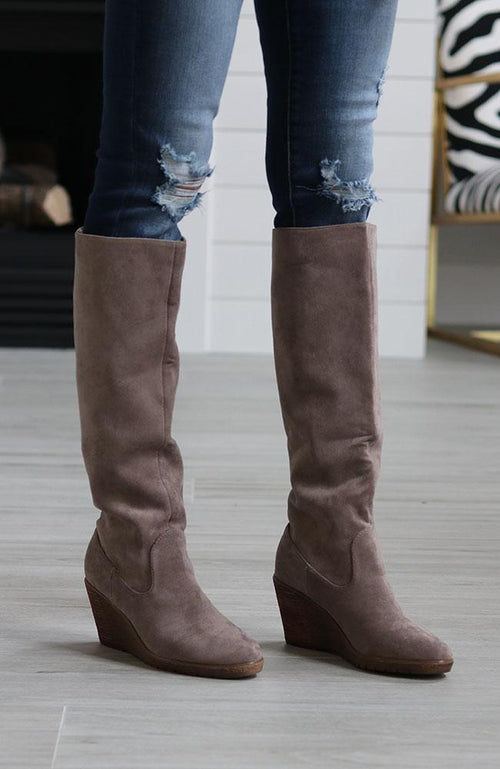 Grey Tall Suede Boots