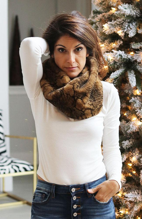 Brown Animal Print Neck Scarf