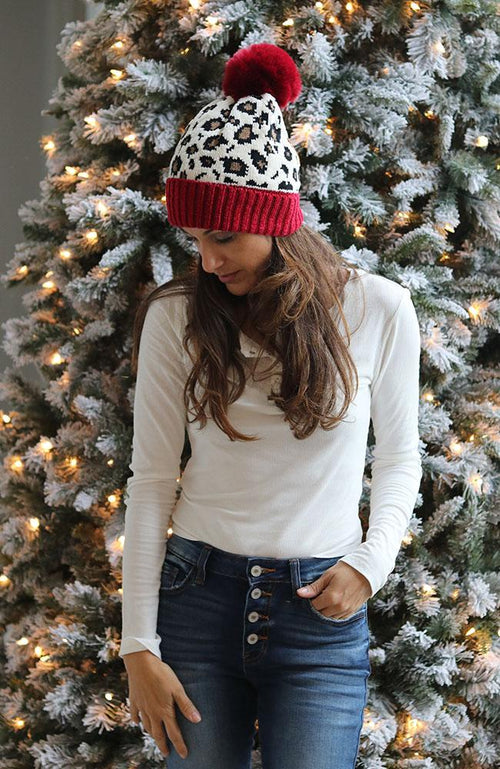 Red and Leopard Beanie