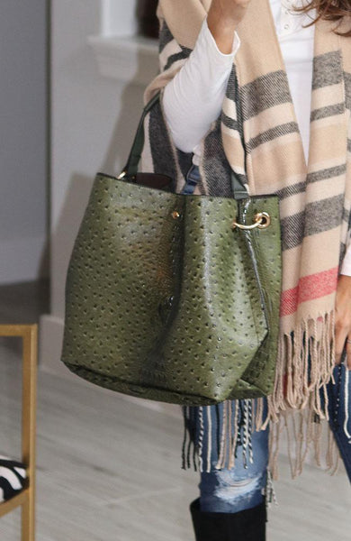 Olive Faux Alligators Tote