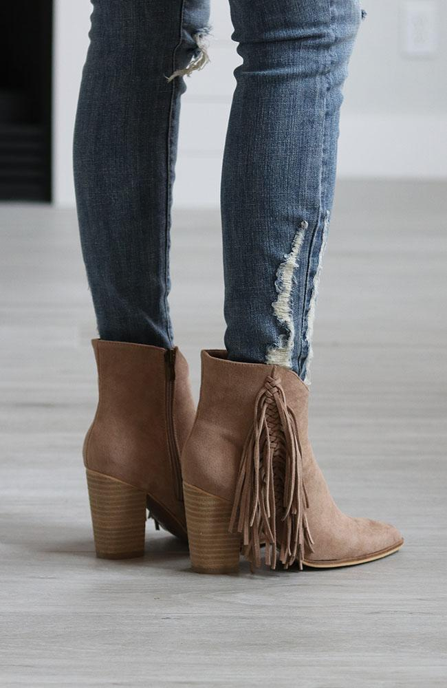 Tabitha Taupe Fringe Booties - THE WEARHOUSE