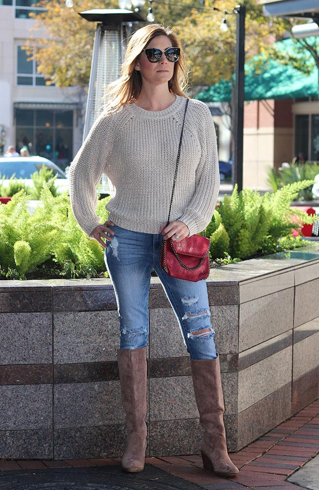 Light Beige Spencer Open Back Sweater