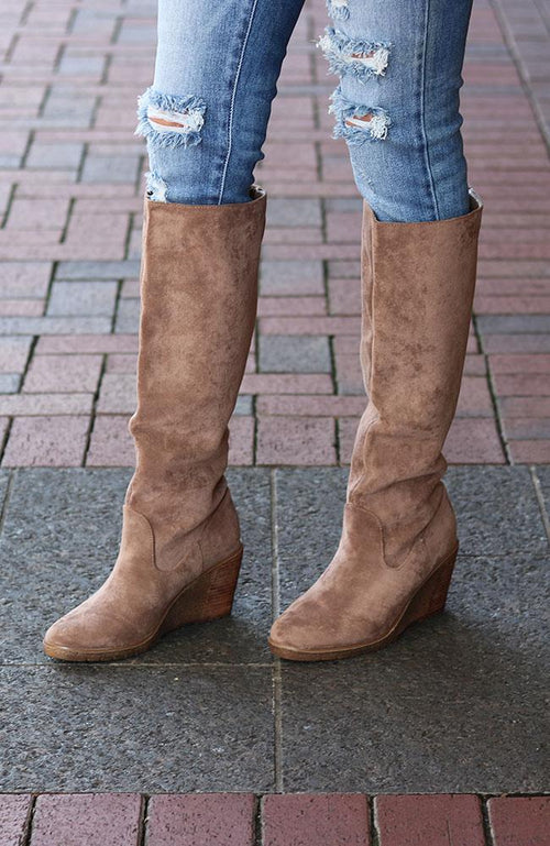 Traci Taupe Faux Suede Tall Boots - THE WEARHOUSE