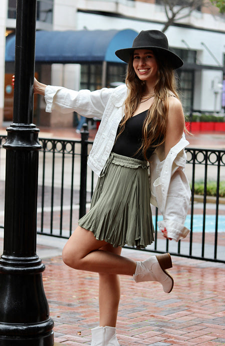 Green Combo Layered Mini Skirt