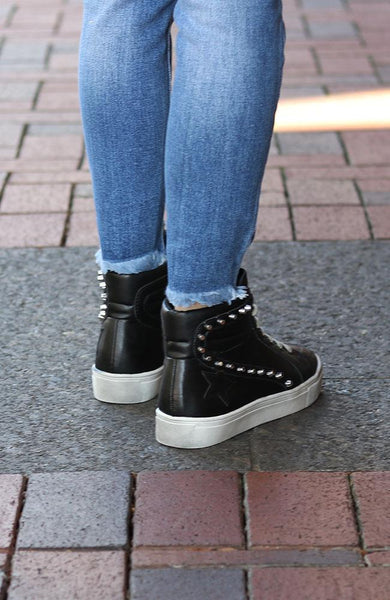 Black Studded High Top Shoes - THE WEARHOUSE