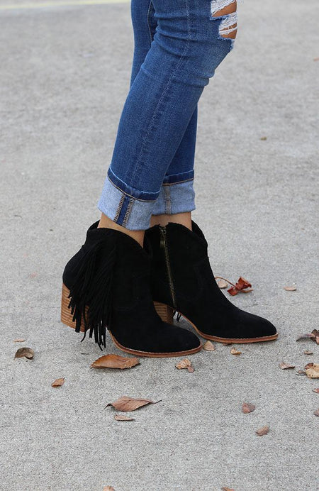 Michelle Black Peep-Toe Booties