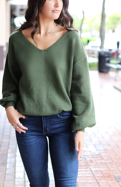 Olive Open-Back Lace Detail Sweater