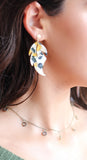 Gold and Blue Leaf Earrings
