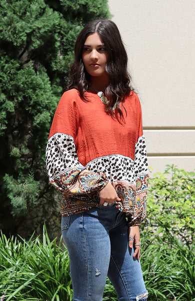 Long Sleeve Paisley Print Top