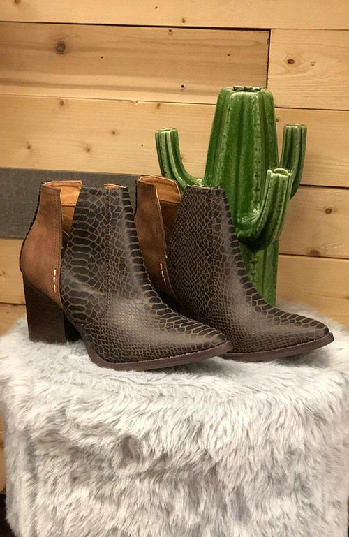 Brown Faux Snake Skin Ankle Boots - THE WEARHOUSE