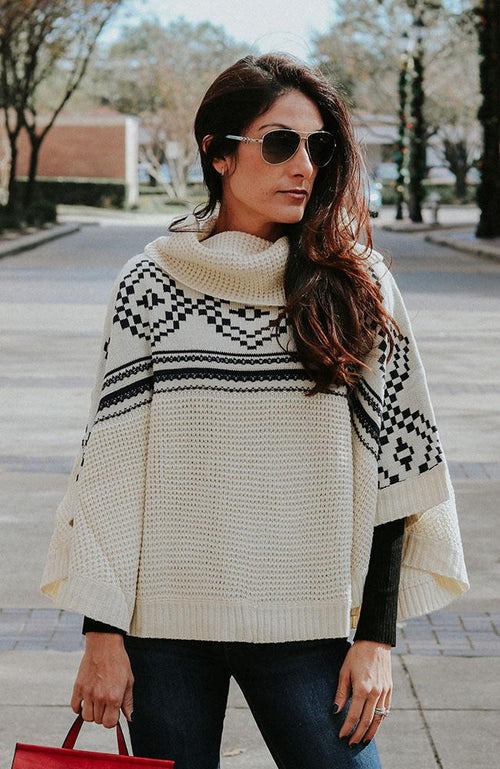Multi Design Cream Poncho