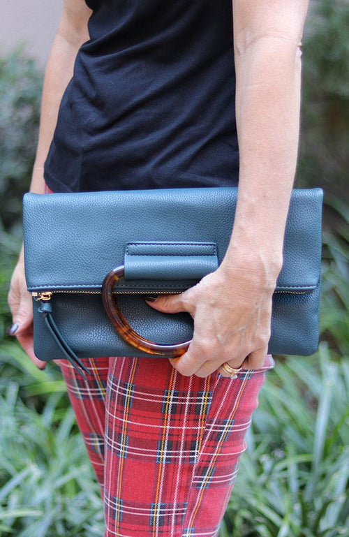 Dark Teal and Tortoise Clutch - THE WEARHOUSE