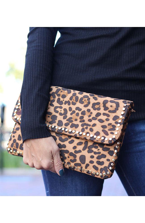 Leopard Studded Clutch