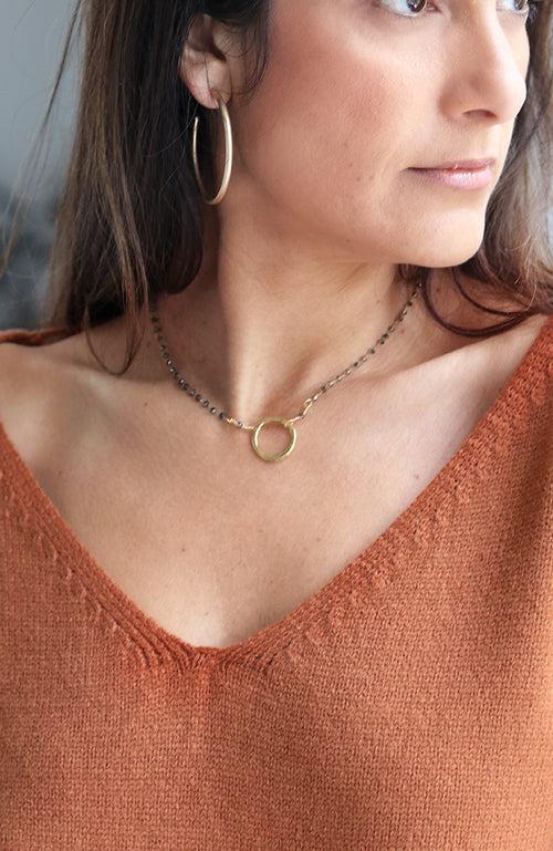 Gold and Beaded Circle Necklace