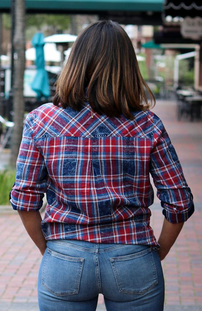 Red and Blue Plaid Button Up.