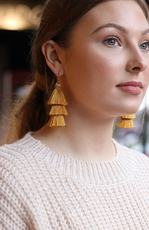 Yellow Tassel Earrings - THE WEARHOUSE